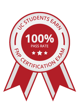 Ribbon for UC students earning 100% pass rate on FNP certification exam.