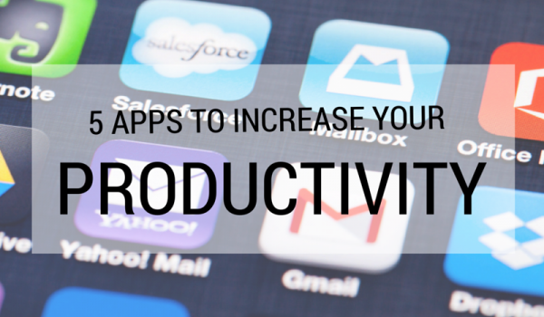 Picture of cell phone screen with several apps to increase productivity.