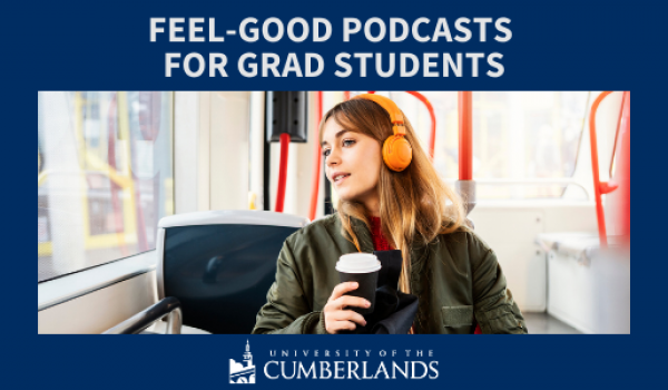 Female student on bus listening to a podcast through headphones
