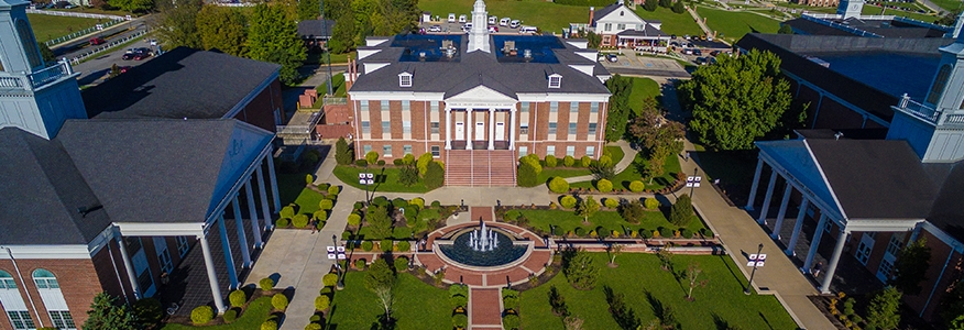 An aerial view of University of the Cumberlands campus.