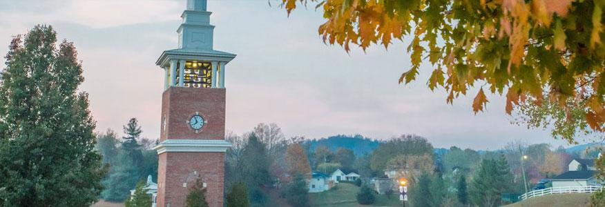 A picture of a clock tower on the University of the Cumberlands campus.