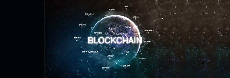 Glowing globe with blockchain technology from University of the Cumberlands